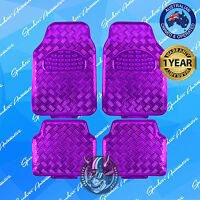 PURPLE CHECKER PLATE CAR FLOOR MAT, METALLIC SHINY UNIVERSAL HEAVY-DUTY SET OF 4