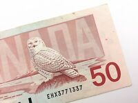 1988 Canada 50 Dollar Circulated EHX Replacement Banknote Thiessen Crow R864