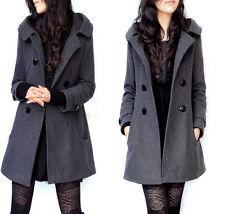 Womens Single Breasted Hooded Wool Blended Coat Jacket Winter Parka Coat Plus Sz