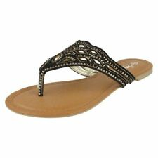 Flache Damen-Sandalen & -Badeschuhe mit Strass 37 Größe