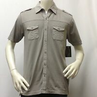 Men's Casual Short Sleeve Shirt Marino Bay Gray 100% Cotton Size Large L Only