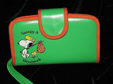 Vintage 1965 SNOOPY & WOODSTOCK Peanuts Wallet Clutch Coin Purse GREEN HTF RaRe