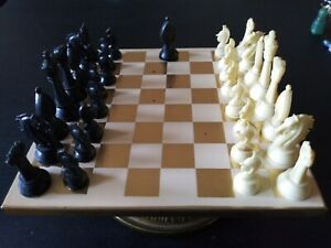 Miniature White/Gold Magnetic Piece Chess Set on Base, circa 1970