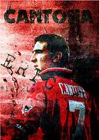 Eric Cantona Manchester United Football Graffiti Wall Art Legend Print Framed