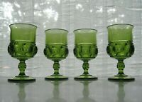 Indiana Colony Glass 4 Green Kings Crown 8 ounce Goblets