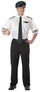 Pilot Shirt Airplane Captain Uniform Adult Men Costume
