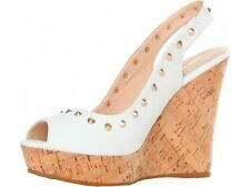 Studs Wedge Sandals-Sandalo Zeppa sughero borchie donna GAS YK110  bianco N. 40