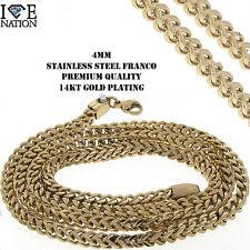 "MEN'S STAINLESS STEEL 14KT REAL  GOLD PLATING 4 MM  FRANCO NECKLACE 24"""