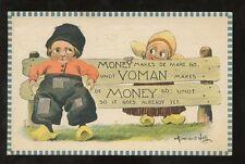 ARTIST BERNHARDT WALL 1912 PPC BOY +GIRL DUTCH CLOGS OHIO LANCASTER FAIR MESSAGE