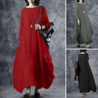 Women Long Sleeve A-Line Flare Swing Cotton Casual Loose Kaftan Baggy Maxi Dress