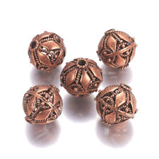 5pc Red Copper Tibetan Alloy Large Hole Beads Round Metal Spacer Bead Craft 21mm