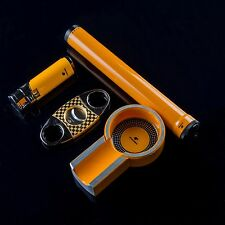 Cohiba Yellow Titanium Cigar Humidor Tube & Ashtray &Lighter & Cutter Gift Set
