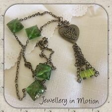 Bronze Filigree Heart  Long necklace With Green Foil Beads & Tassels