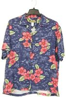 Hawaiian Shirt Blue & Bright Red Flower Mens Size XL MADE IN HAWAII by Two Palms