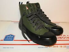 HUNTER DIPPED Women's Ankle Boot Green Black canvas/Rubber Size 7 Lace Up Great