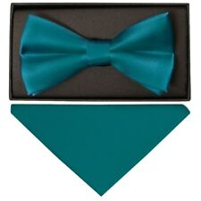 Plain Teal Satin Silk Mens Bow Tie and Pocket Square Set Wedding Bow Tie