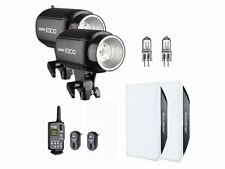 2X Godox E300 Studio Strobe Flash Light + Trigger + Softbox + Modeling Lamp Kit