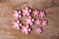 10 x Pink Daisy Plastic Flat-back Flower Cabochon Embellishment Deco Wedding