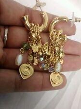 Stunning Kirk folly angel cherub  crystal  gold tone heart  hoop earrings