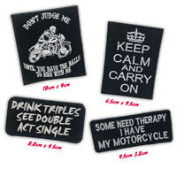 Bikers Badges Don't Judge me Keep Calm Iron on Sew on Embroidered Patch