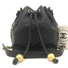 CHANEL CC Logo Caviar Skin Chain Drawstring Shoulder Black /50767