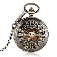 Automatic Mechanical Poker Hollow Skull Bronze Pocket Watch Mens Skeleton Watch