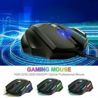 LED Optical 5500 DPI 7 Button USB Backlit Wired Gaming Mouse Mice For PC Laptop