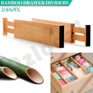 2/4/6/8X Adjustable Drawer Dividers Bamboo Organizer Kitchen Lipper Expandable