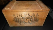 Vintage Wood Deer Elk Ammo Storage Box With Tray By Evans 1994 Sporting Hunting