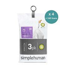 240 (12 packs x 20) Simplehuman Sacs poubelles, Code G (30 litres)