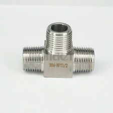 """1/2"""" NPT Male Tee 3 Way Pipe Fitting 304 Stainless Steel Water Gas Oil"""
