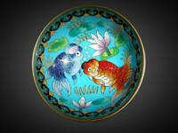 Great Antique Chinese Qing Imperial Cloisonne Fishbowl Koi Gold Fish Bowl Signed
