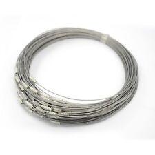 Lot de 4 colliers fil 1mm en métal argenté 45cm avec fermoir à vis 12x4mm *C208