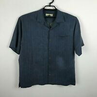 Tommy Bahama Shirt Mens Size M Silk Embroidered Short Sleeve Button Up Blue