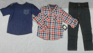 Boys English Laundry $59 L.S. Flannel Shirt, S.S. T-Shirt & Jeans 3PC Set Sz 4-6