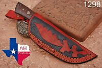CUSTOM MADE PURE LEATHER HAND ENGRAVED SHEATH FOR FIXED BLADE KNIFE AH-.1298