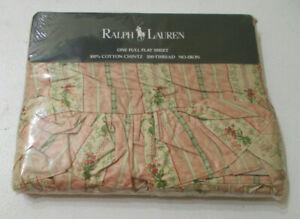 New RALPH LAUREN Lillian Chintz Ruffled Full Flat Sheet French Country Evelyn