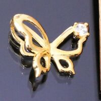 Butterfly Diamond Pendant Charm SOLID 14k Yellow Gold Women Jewelry Gift S41