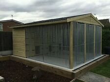 Dog kennel and run Deluxe Triple 12 ft x 14 ft tanalised *delivery available