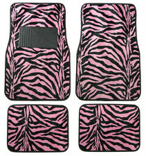 4PC SET PINK ZEBRA SAFARI CAR TRUCK FLOOR MATS CARPET
