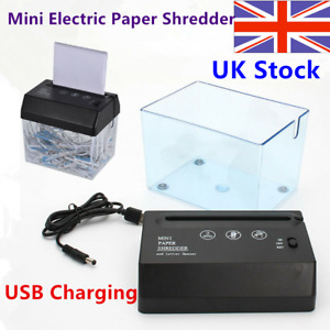 Mini Desktop Paper Shredder Office Home Electric Shredding Tools USB Charging TI