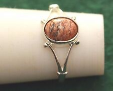 A Sterling silver ring with a nice leopard jasper  stone,in size O