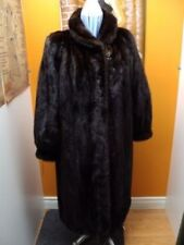 BRAND NEW CANADIAN DARK MAHOGANY MINK FUR COAT WOMEN 16-18