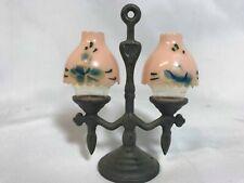 Oil Lamps Salt & Pepper Shakers Vintage Metal Base w/Plastic Lamps