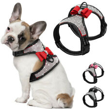Reflective Rhinestone Dog Harness Soft Mesh Padded Pet Walking Vest & Cute Bows
