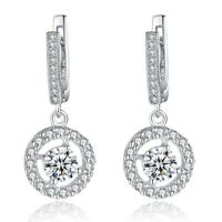 Gorgeous 925 Silver Drop Earrings for Women White Sapphire Earrings A Pair