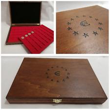 Cofanetto Astuccio per monete collezione EURO con 2 vassoi wooden casket EURO