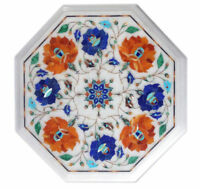 """12"""" Marble Table Top  Pietra Dura Floral Inlaid work art Home decor furniture"""