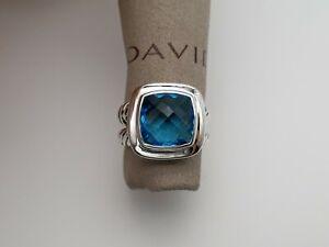 David Yurman 11mm Albion Ring with Blue Topaz size 6