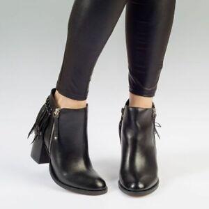Flapper Black Womens Ladies Fringe Black Leather Ankle Boot, UK Size 3 4 5 6 7 8